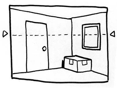 Below Eye Level Drawing When Drawing a Room Interior